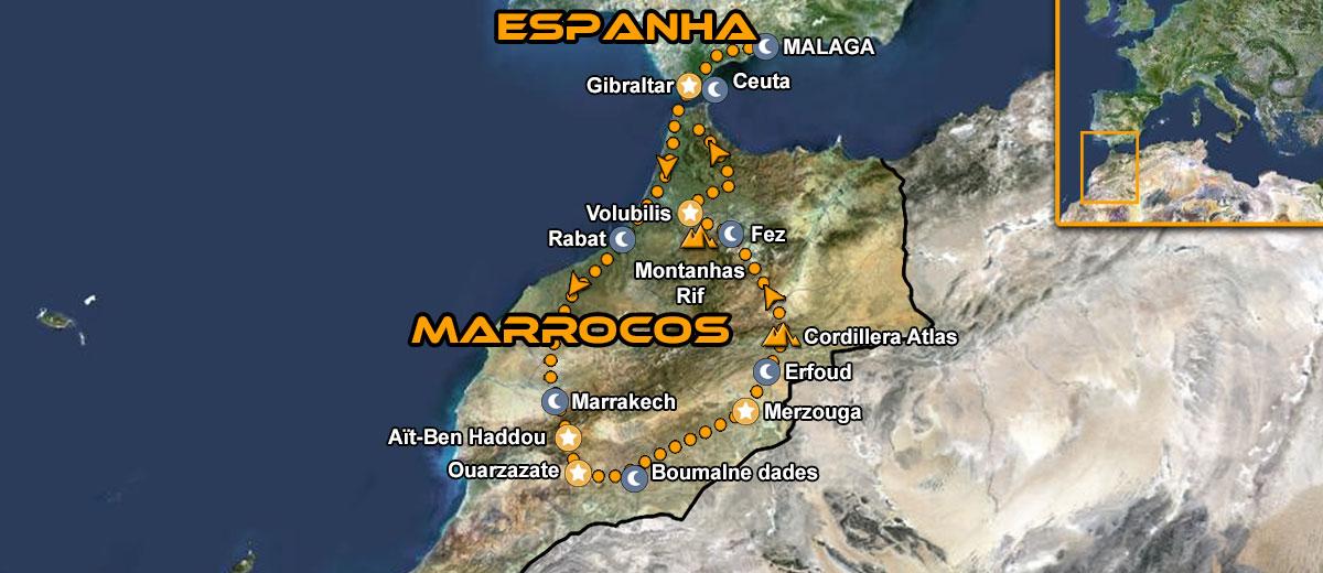 Aventura em Marrocos Moto Tour Mapa