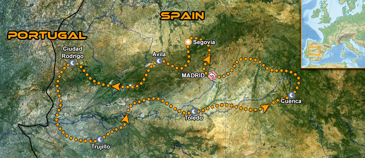 Castles Mountains Central Spain Motorbike Tour Map
