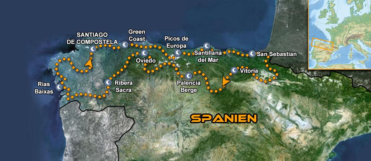 Karte Northern Green Spain Motorcycle Tour