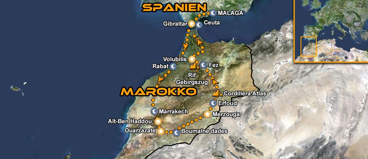 Karten Abenteuer Marokko Motorcycle Tour