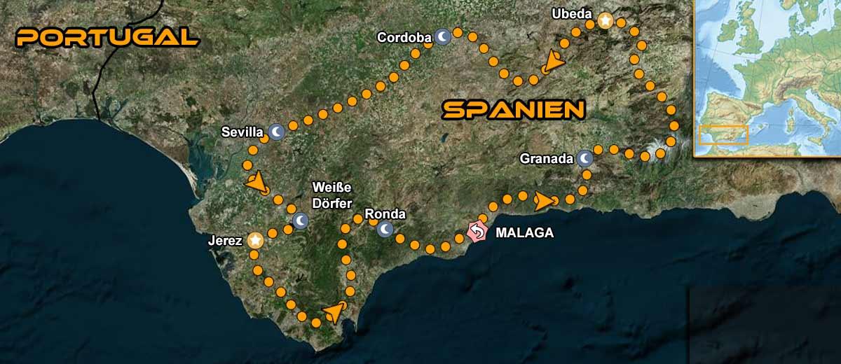 Karten Südspanien Andalusien Tour