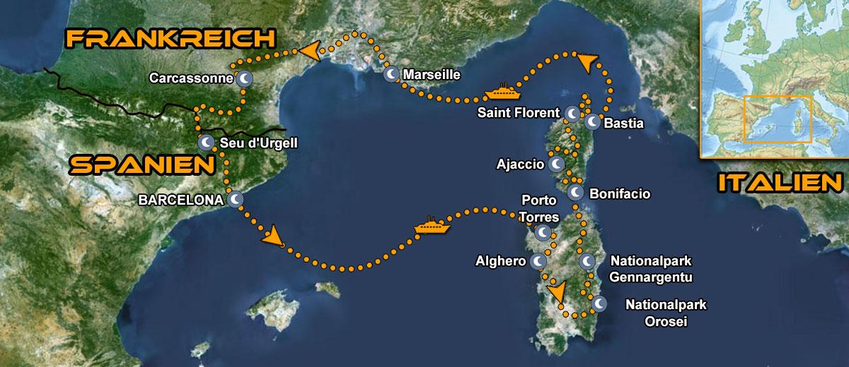 Karten Sardinien und Korsika Tour