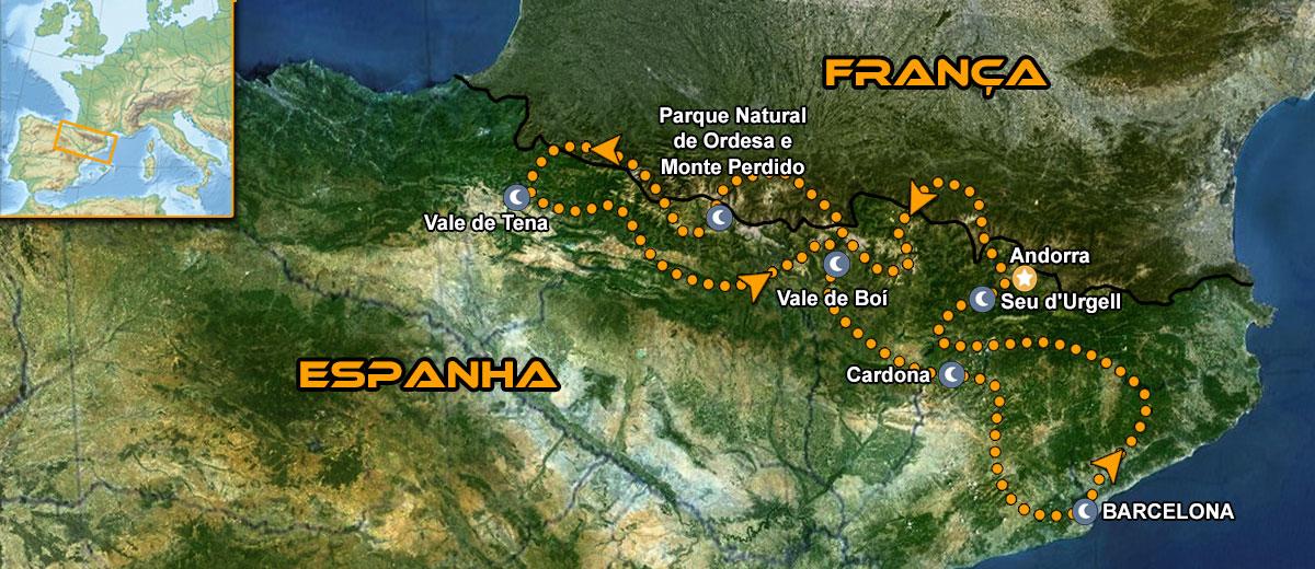 Mapa viagem moto gp espanha catalunha