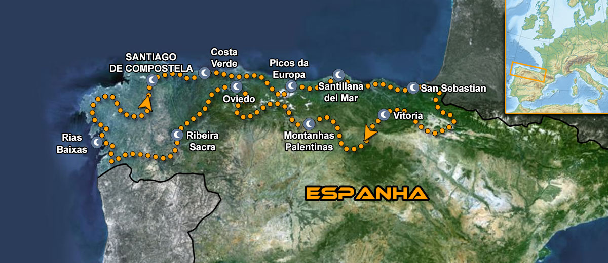 Northern Green Spain Motorcycle Tour Mapa