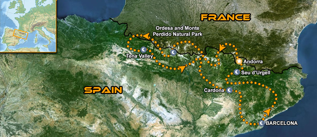 Perfect Pyrenees Motorbike Tour Map