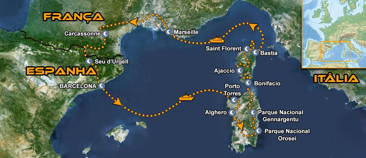 Sardenha & Córsega Moto Tour Mapa