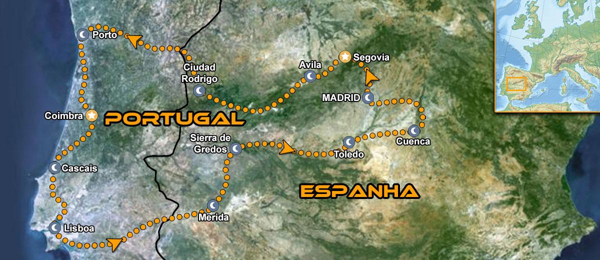 Mapa Tours de moto em Portugal e Espanha IMTBIKE