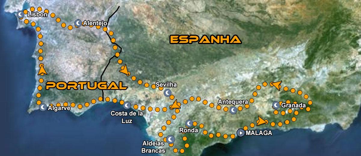 Mapa Tours de moto em Portugal e Sul Espanha Andalucia IMTBIKE