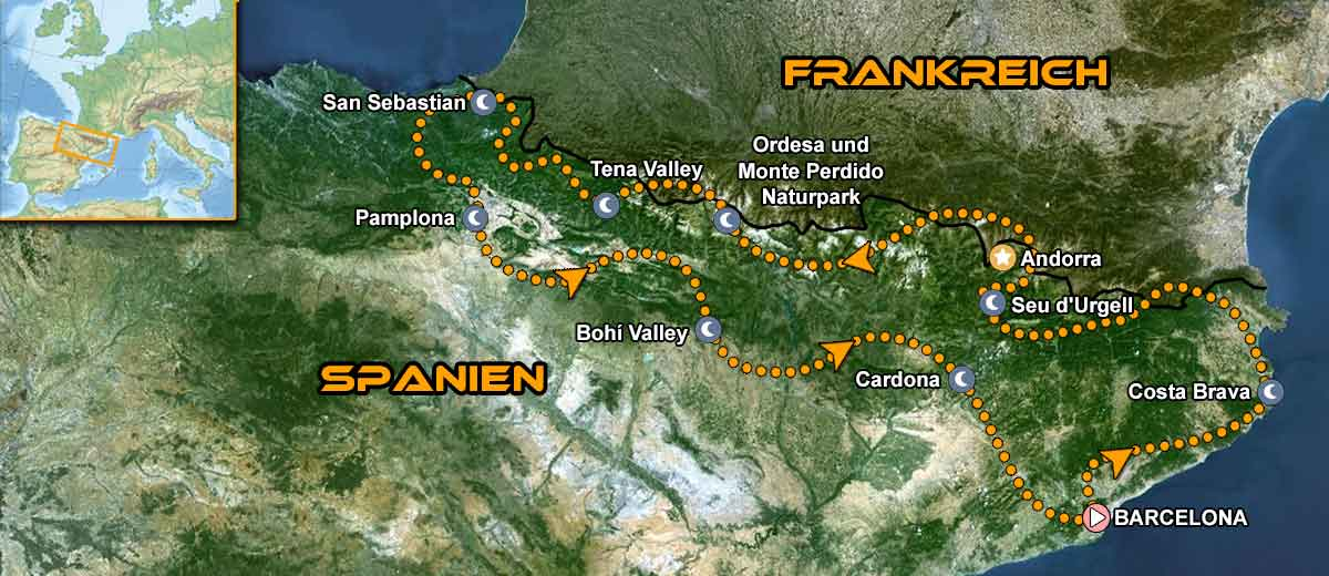 Karte Pyrenees Coast to Coast Motorcycle Tour