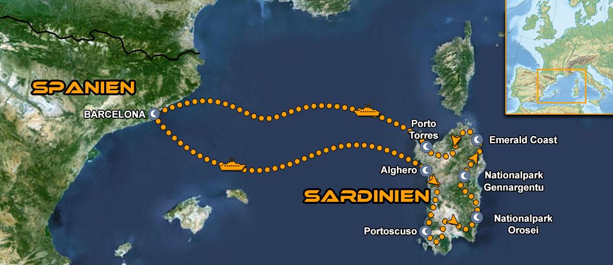 Karten Kurvenreiche Sardinien Motorradtour IMTBIKE
