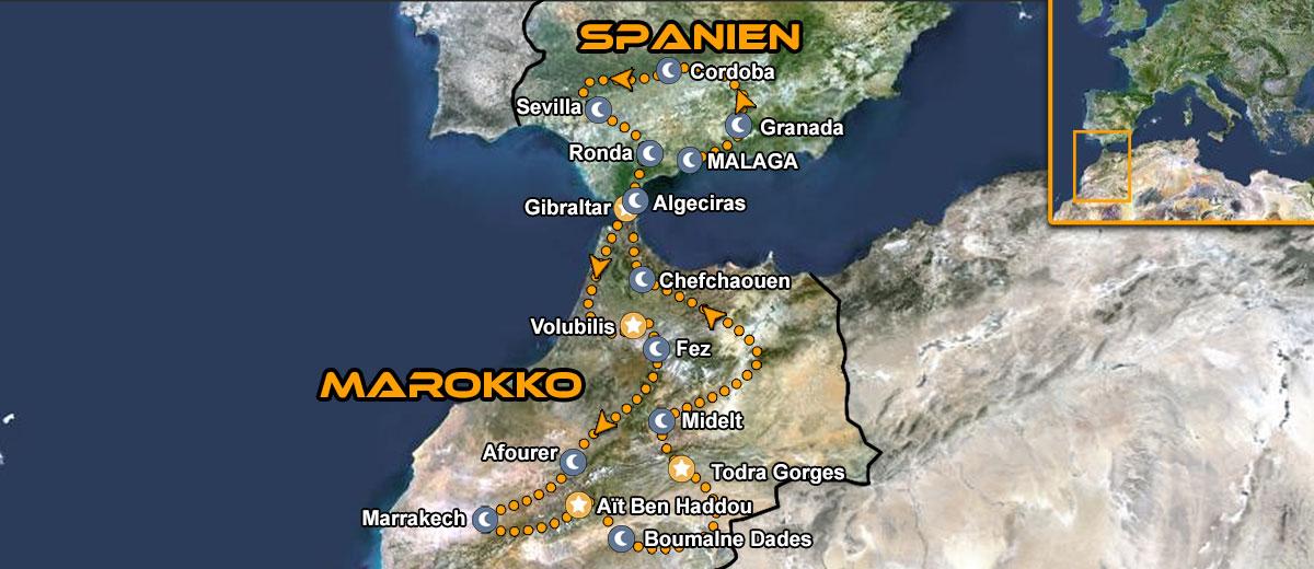 Karten Marokko Südspanien
