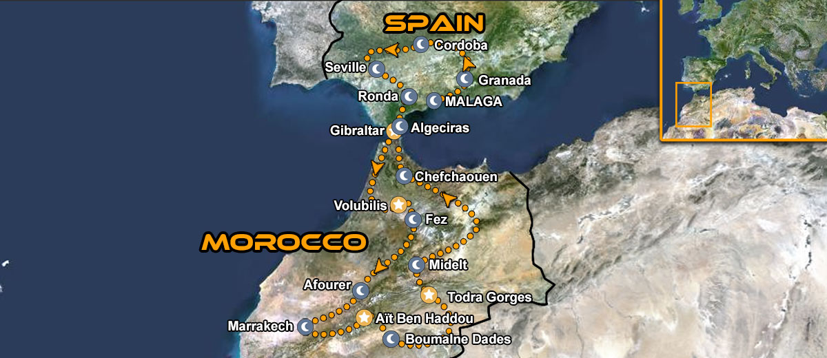 Morocco Southern Spain Motorcycle Tour Map
