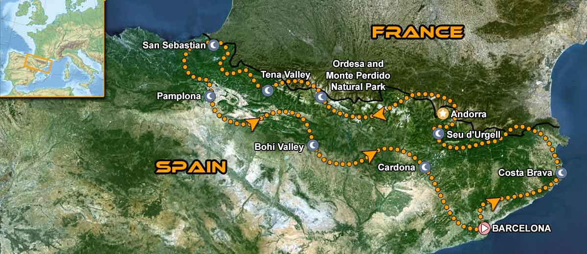 Pyrenees Coast to Coast Motorcycle Tour Map