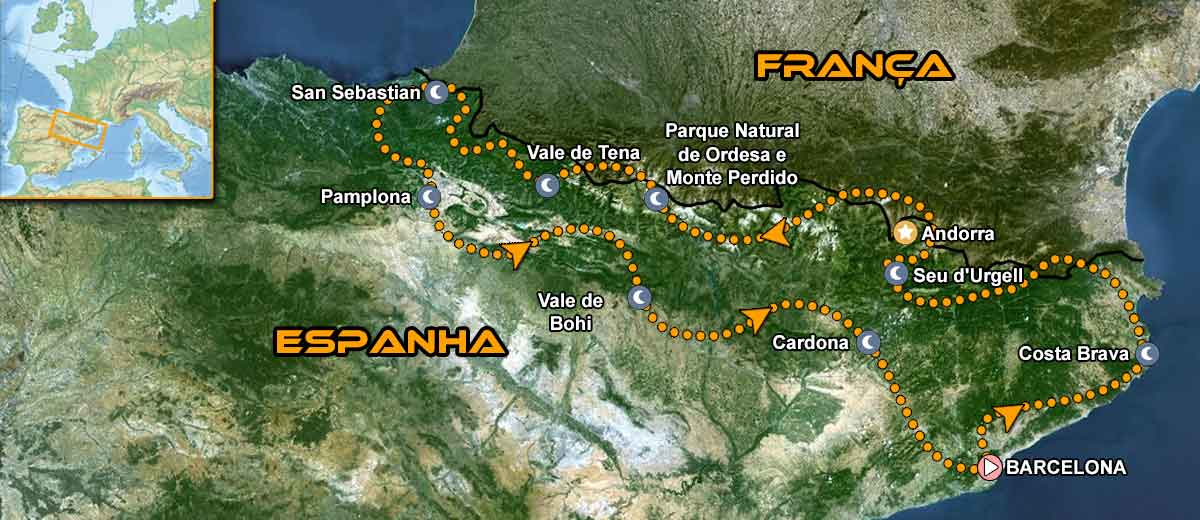 Pyrenees Coast to Coast Motorcycle Tour mapa