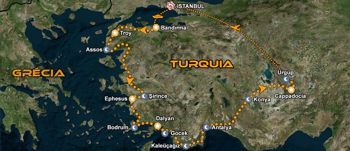 Tour de Moto Turquia mapa