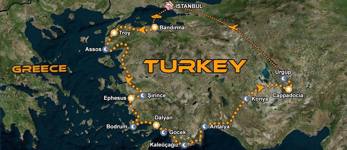 Turkey Motorcycle Tour IMTBIKE map