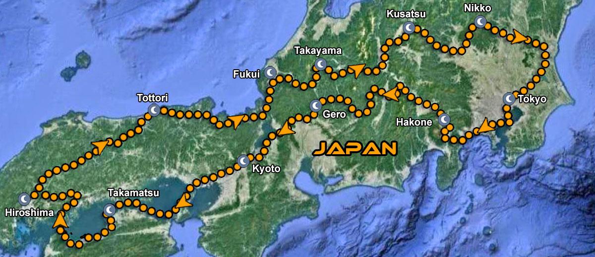 Japan Motorcycle Tour IMTBIKE Map