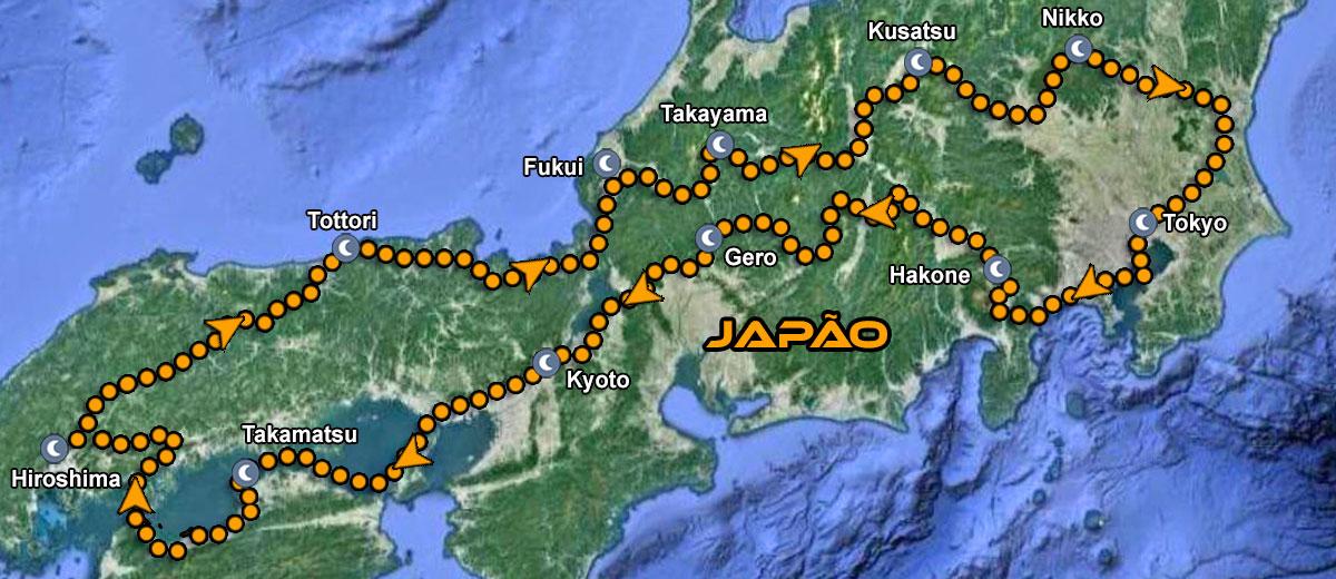Passeio de moto no Japao IMTBIKE Mapa