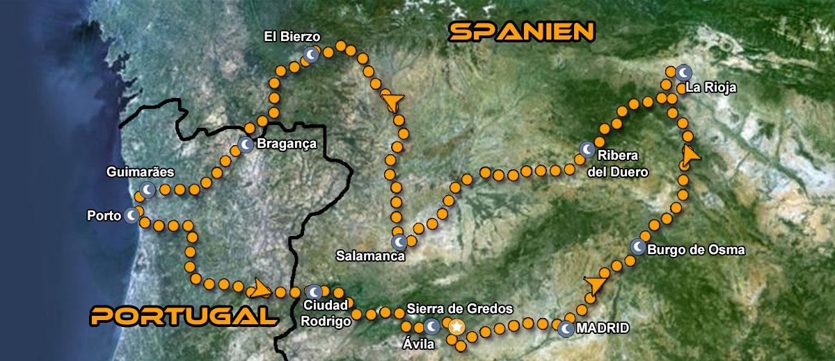 Karten Motorradreise Portugal & Spanien