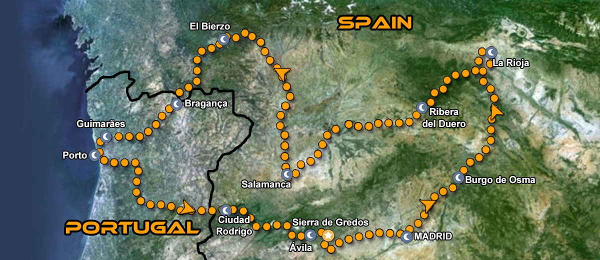 Northern Portugal and Spain Motorcycle Tour IMTBIKE Map