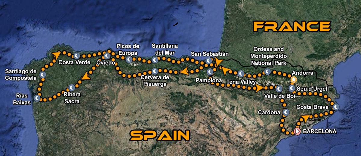 The Great Spain Northern Discovery Motorcycle Tour Map